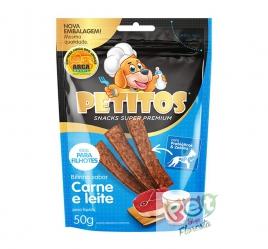 Snack Petitos bifinho sabor Carne e Leite - 50g